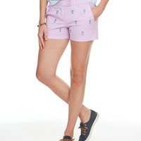 Pineapple Embroidered Washed Dayboat Shorts