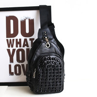 Back To School Comfort Casual On Sale College Hot Deal Leather Bags Stylish Rivet One Shoulder Backpack [4915800708]