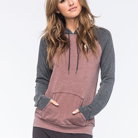 Volcom Lived In Raglan Womens Hoodie Burgundy  In Sizes