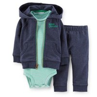 """Carter's® 3-Piece """"Captain Adorable"""" Hoodie, Bodysuit and Pant Set in Navy/Green"""