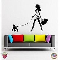 Wall Stickers Vinyl Decal Fashion Girl With Poodle And Shopping Bags Unique Gift (z1779)