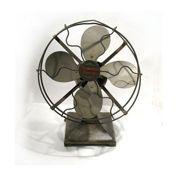 Antique Hamilton Beach Fan - Cyclone Desk Fan - Art Deco Electric Fan - HB 8 Inch Fan - Nickel Plated Fan - Racine Wisconsin
