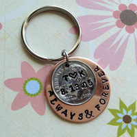 10 Year Anniversary/ Always and Forever Key Chain Hand Stamped Dime  / Couple Gift/ Wedding /Key Chain/ Gift for Her Gift For Him/ Copper