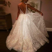 Fashion Sell Deep V Sexy Backless Dresses Sequined Big Dresses