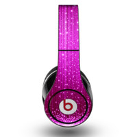 The Abstract Pink Neon Rain Curtain Skin for the Original Beats by Dre Studio Headphones