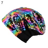 2018 Women Knitted Cap Casual Glossy Bling Bling Beanies Hat Hip-Hop Skullies Beanie Sequin Caps Soft Warm Slouch Hat