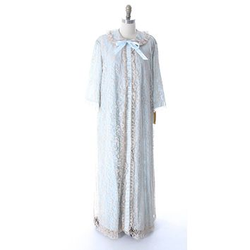Odette Barsa VTG Nylon Lingerie Nightgown Robe Set Lace Peignoir Negligee Blue L NWT 1960s