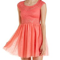 Coral Lace & Tulle Skater Dress by Charlotte Russe