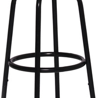 Backless Black Metal DUAL Height Counter or Bar Stool with Black Leather Seat