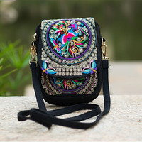 Women's Ethnic Embroidery bag Vintage Embroidered canvas cover shoulder messenger bags Hmong Handmade Multicolor small coin bags