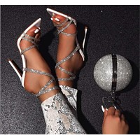 New style sandals cross transparent belt luxury rhinestone high heels pointed toe stiletto sandals