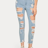 Button Waist Cut Out Ripped Jeans