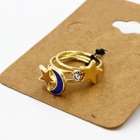 Blue Moon And Star Rhinestoned Finger Ring