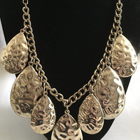 Modernist Erica Lyons Gold Tone Teardrop Stylized Chain Bib Necklace, Bib Necklace with 7 Large Pear Shaped Gold Tone Charms