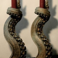 Gorey Details: Tentacle candlestick holders