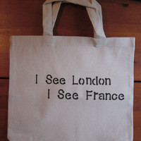 I See London I see France  Cotton Canvas Shopping Bag