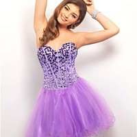 Amethyst & Orchid Ombre Rhinestone & Tulle Lace Up Short Prom Dress - Unique Vintage - Cocktail, Pinup, Holiday & Prom Dresses.