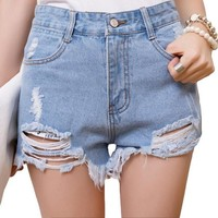 New Summer Style Hole Punk Rock Fashion High Waisted Denim Shorts Vintage Ripped Short Jeans Sexy Womens Short Femme