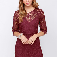 Department of Floristry Burgundy Floral Lace Dress