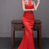 Chinese Wedding Chiffon Red Gown