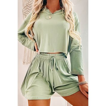Morning Glow Cropped Hoodie Top (Olive)