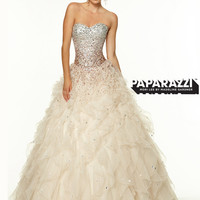 Sweetheart Beaded Ball Gown Paparazzi Prom Dress With Ruffles By Mori Lee 97114