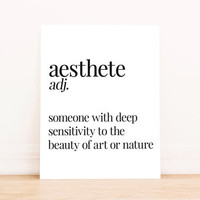 Printable Art Aesthete Definition Typography Poster Home Decor Office Art