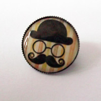 Cute Beige Hipster Mustache, Hat and Glasses 20mm Dinky Brooch