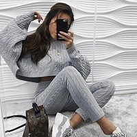2020 new arrival women's round neck long sleeve trousers solid color two-piece suit