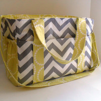 Extra Large Diaper bag Made of Grey and White Chevron with Citron Fabric