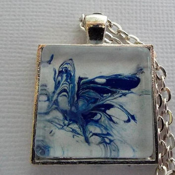 "Pendant, Necklace, Jewelry, ""Blue Fossil"",Blue, Light Blue, Waves, Square Pendant, Fossil, Hand Painted, Gift for Her, Wearable Art,  Gift"