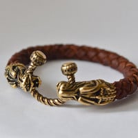 Brown leather bracelet with dragon heads Bronze dragon jewelry Big mens leather bracelet Gift for him Biker jewelry Bronze dragon bracelet