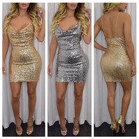 2016 new fashion sexy women bodycon dress autumn style spaghetti strap slim hip club dresses gold silver bandage dress party