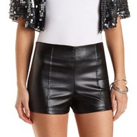 High-Waisted Faux Leather Shorts by Charlotte Russe - Black