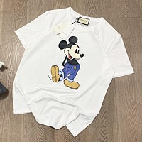 GUCCI Popular Cute Mickey Mouse Print Couple Short Sleeve T-Shirt Top