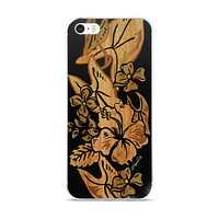 Surfboard Retro Hawaiian Print in Black Cell Phone Case - Fits iPhone X and Other Sizes 5-X