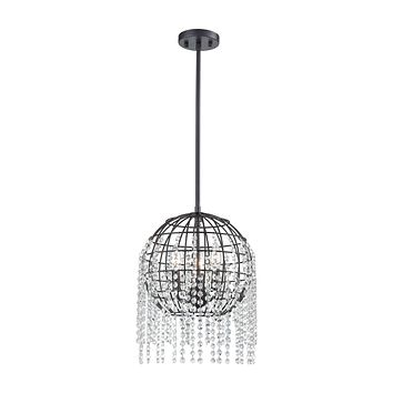 Yardley 3-Light Pendant in Oil Rubbed Bronze with Wire Cage and Clear Crystal
