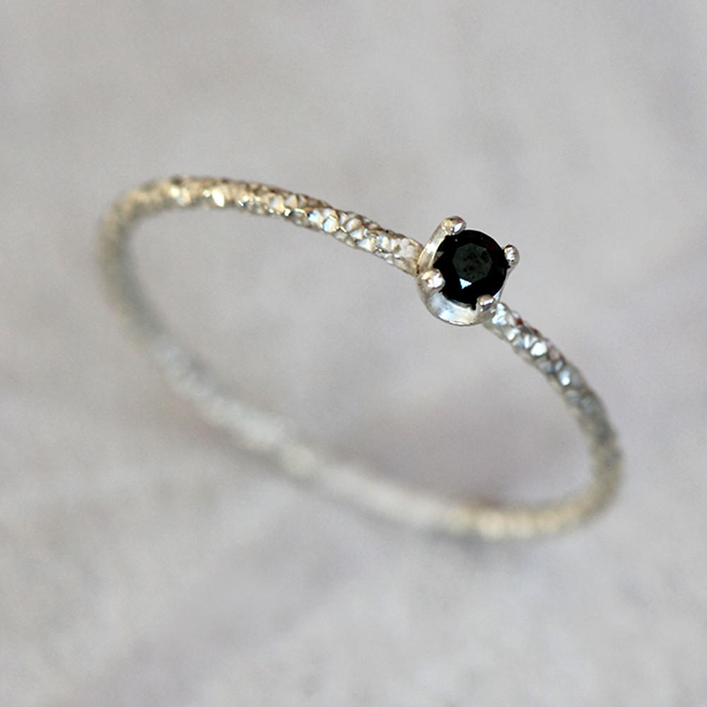 Image of Black diamond solitaire ring