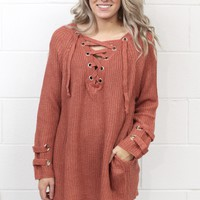 Long Sleeve Sweater with Lace Up Neckline + Pockets {Rust}