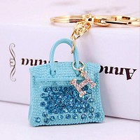 Hermes Stylish Creative Diamond H Letter Handbag Hanging Drop Car Key Chain Bag Accessories Blue