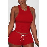 Sportswear Lace-up Red Two-piece Shorts Set