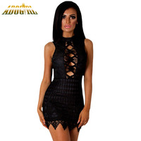 Sexy Summer Backless Dress Black Crochet Cut Out Mini Lace Dress Sundress New O-Neck Sleeveless