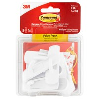 Command Hooks Value Pack, White, Medium, 8 Hooks, 16 Strips/Pack - Walmart.com