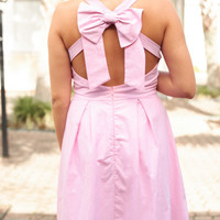 Old Row Pink Fit and Flare Dress with Bow - Lotus Boutique