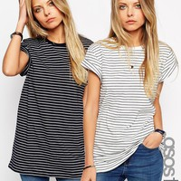 ASOS TALL The Easy T-Shirt in Stripe 2 Pack Save 15%