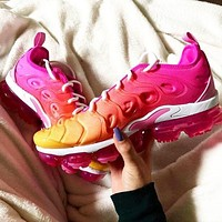 Nike Air Max Vapormax Plus Hot Sale Women Fashion Sport Running Shoes Sneakers Pink&Yellow