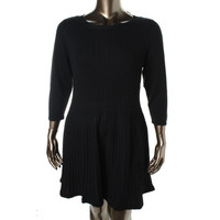 Style & Co. Womens Plus Cable Knit 3/4 Sleeves Sweaterdress