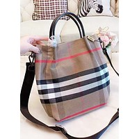 Burberry Fashion New Stripe Leather Shoulder Bag Bucket Bag Women Khaki