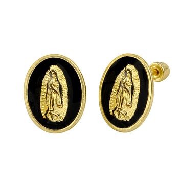 10k Yellow Gold Earrings Guadalupe Black Oval Medallion Studs with Screwbacks