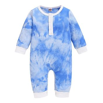 Tie dye Rompers Baby Autumn Long Sleeve Kids Boy Jumpsuit Fashion Toddler Fall Clothing for Boy Cotton Boys Romper D30